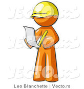 Vector of Orange Guy Draftsman Reviewing Plans by Leo Blanchette