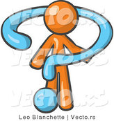 Vector of Orange Guy Draped in a Blue Question Mark by Leo Blanchette