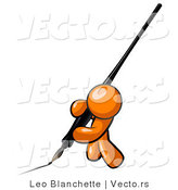 Vector of Orange Guy Drawing with Black Calligraphy Ink Pen by Leo Blanchette