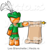 Vector of Orange Guy Dressed As Robin Hood with a Feather in His Hat, Holding a Blank Scroll and Acting As a Pageboy by Leo Blanchette