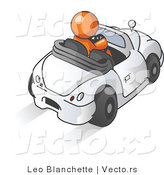 Vector of Orange Guy Driving a Convertible Car by Leo Blanchette