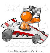 Vector of Orange Guy Driving Fast Race Car While Holding Checkered Flag by Leo Blanchette