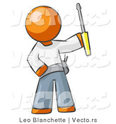 Vector of Orange Guy Electrician Holding a Screwdriver by Leo Blanchette