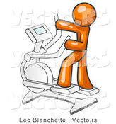 Vector of Orange Guy Exercising on a Cross Trainer in a Gym by Leo Blanchette