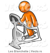 Vector of Orange Guy Exercising on a Stair Climber During a Cardio Workout in a Fitness Gym by Leo Blanchette