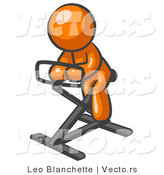 Vector of Orange Guy Exercising on Stationary Bicycle by Leo Blanchette