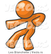 Vector of Orange Guy Fighter Punching by Leo Blanchette