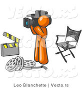 Vector of Orange Guy Filming a Movie Scene with a Video Camera in a Studio by Leo Blanchette