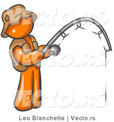 Vector of Orange Guy Fishing by Leo Blanchette