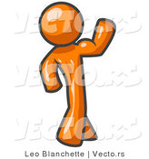 Vector of Orange Guy Flexing His Muscles by Leo Blanchette