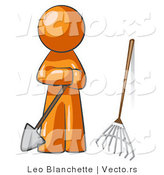 Vector of Orange Guy Gardener with a Shovel and a Rake by Leo Blanchette
