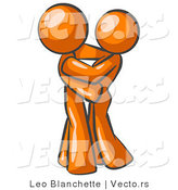 Vector of Orange Guy Gently Embracing His Lover, Symbolizing Marriage and Commitment by Leo Blanchette