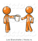 Vector of Orange Guy Giving a Woman a Cup of Coffee by Leo Blanchette