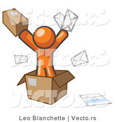 Vector of Orange Guy Going Postal with Parcels and Mail by Leo Blanchette