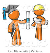 Vector of Orange Guy Graduate and Orange Man Contractor by Leo Blanchette