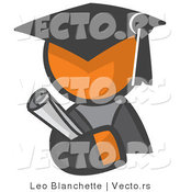 Vector of Orange Guy Graduate Holding a Diploma by Leo Blanchette