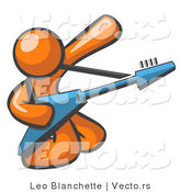 Vector of Orange Guy Guitarist Musician Playing on His Knees by Leo Blanchette