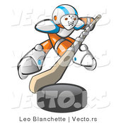 Vector of Orange Guy Hockey Player with Puck and Stick by Leo Blanchette