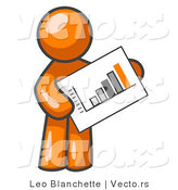 Vector of Orange Guy Holding a Bar Graph Displaying an Increase in Profit by Leo Blanchette