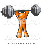 Vector of Orange Guy Holding a Barbel Above His Head by Leo Blanchette