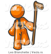 Vector of Orange Guy Holding a Cane by Leo Blanchette