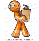 Vector of Orange Guy Holding a Clipboard While Reviewing Employess by Leo Blanchette