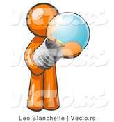 Vector of Orange Guy Holding a Glass Electric Lightbulb, Symbolizing Utilities or Ideas by Leo Blanchette