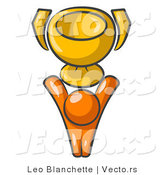 Vector of Orange Guy Holding a Golden Trophy by Leo Blanchette