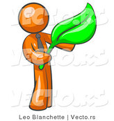 Vector of Orange Guy Holding a Green Leaf, Symbolizing Gardening, Landscaping or Organic Products by Leo Blanchette