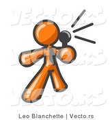 Vector of Orange Guy Holding a Megaphone and Making an Announcement by Leo Blanchette