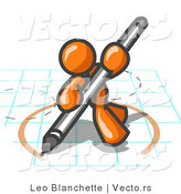 Vector of Orange Guy Holding a Pencil and Drawing a Circle on a Blueprint by Leo Blanchette