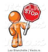 Vector of Orange Guy Holding a Red Stop Sign by Leo Blanchette