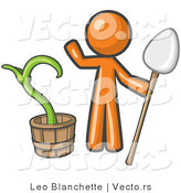 Vector of Orange Guy Holding a Shovel by a Potted Plant by Leo Blanchette
