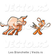 Vector of Orange Guy Holding a Stool and Whip While Taming a Bull, Bull Market by Leo Blanchette