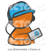 Vector of Orange Guy Holding an Mp3 Player by Leo Blanchette