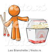 Vector of Orange Guy Holding Chopsticks by a Chinese Takeout Container by Leo Blanchette