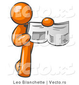 Vector of Orange Guy Holding Newspaper and Pointing to an Article by Leo Blanchette
