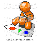Vector of Orange Guy Holding Pair of Scissors and Sitting on a Large Poster Board with Colorful Shapes by Leo Blanchette