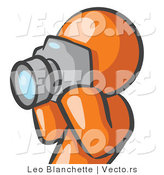 Vector of Orange Guy Holding up a Digital Camera and Taking Photos by Leo Blanchette