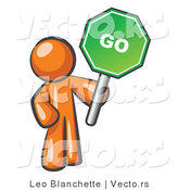 Vector of Orange Guy Holding up a Green Go Sign, on a White Background by Leo Blanchette