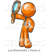 Vector of Orange Guy Holding up a Magnifying Glass and Peering Through It While Investigating or Researching Something by Leo Blanchette