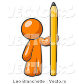 Vector of Orange Guy Holding up and Standing Beside a Giant Yellow Number Two Pencil by Leo Blanchette