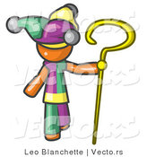 Vector of Orange Guy in a Jester Costume, Holding a Yellow Staff by Leo Blanchette