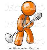 Vector of Orange Guy in a Tie, Singing Songs on Stage During a Concert or at a Karaoke Bar While Tipping the Microphone by Leo Blanchette