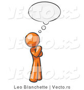 Vector of Orange Guy in Thought with a Bubble by Leo Blanchette