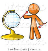 Vector of Orange Guy Inserting Pins on a Globe by Leo Blanchette