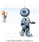 Vector of Orange Guy Inventor Operating an Blue Robot with a Remote Control by Leo Blanchette