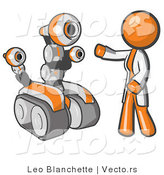 Vector of Orange Guy Inventor with a Rover Robot by Leo Blanchette