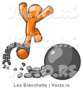 Vector of Orange Guy Jumping for Joy While Breaking Away from a Ball and Chain, Getting a Divorce, Consolidating or Paying off Debt by Leo Blanchette