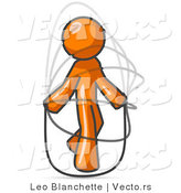 Vector of Orange Guy Jumping Rope During a Cardio Workout by Leo Blanchette